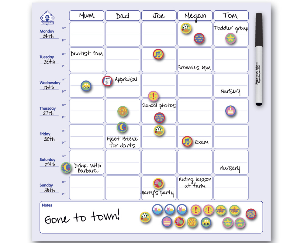Magnetic Family Organizer Active Moms Club