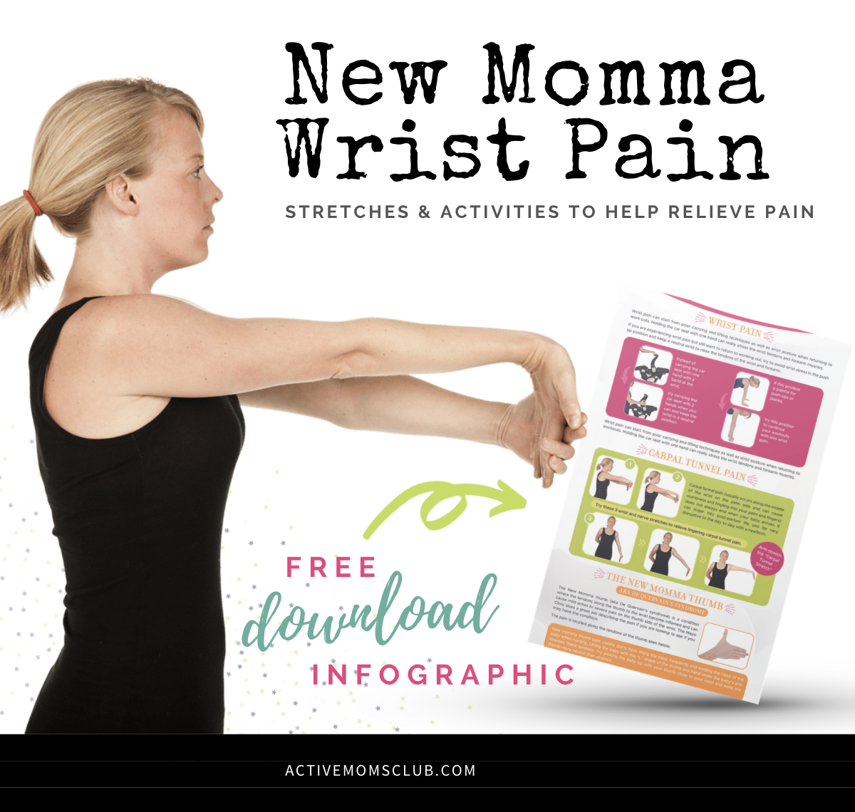 New momma wrist pain stretches to relieve pain infographic